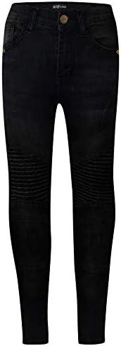 A2Z 4 Kids® Bambini Ragazzi Elastico Jeans Jet Nero Progettista Strappato Ginocchio Drappo Pannello Denim Pant