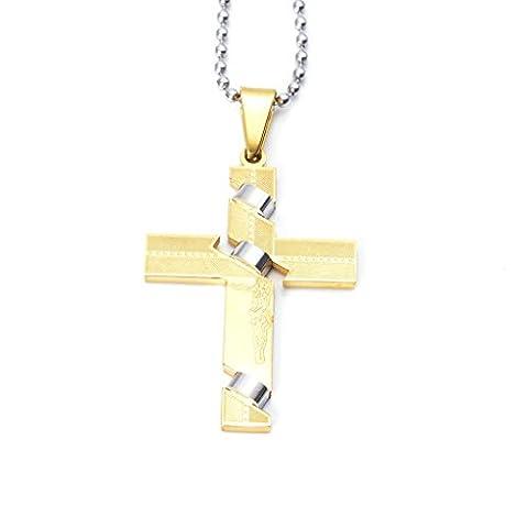 Epinki Homme Acier Inoxydable Collier Jésus Crucifix Croix Religieux Argent Or Pendentif