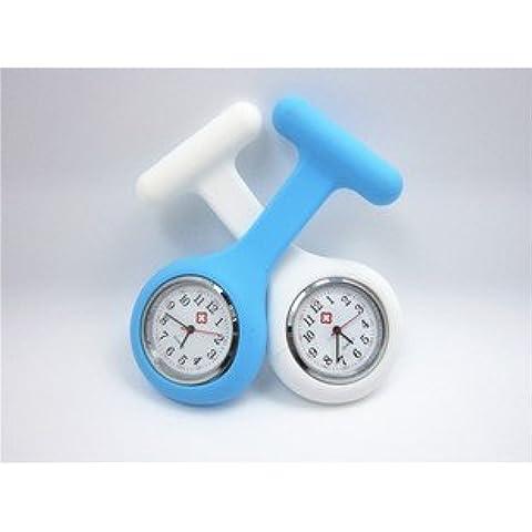 promiseu infermieri orologio fob spilla blu silicone gel Fob orologi Light (Orologio Di Grandi Dimensioni Fob)