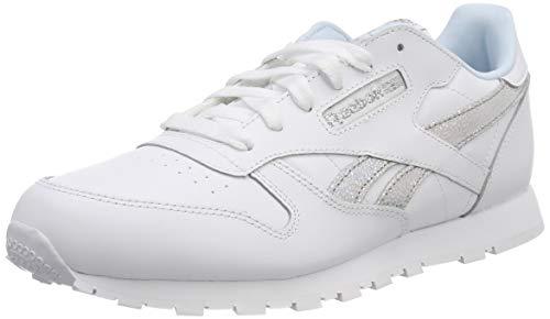 Reebok Classic Leather, Scarpe da Ginnastica Basse Unisex-Bambini, Bianco (White/Dreamy Blue/Tin Grey 0), 35 EU