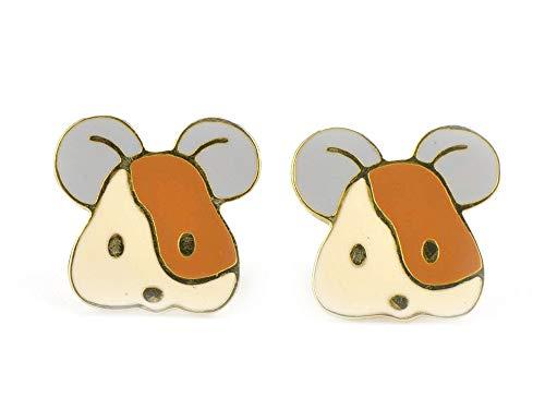 Monkimau 750 Gold plattierte Mäuse Ohrringe Kinder-Schmuck Damen Frauen Mädchen-Ohrstecker ()