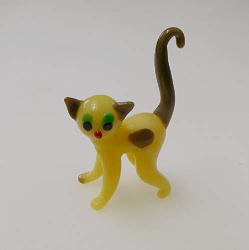 Glastier süße Katze in creme-hellbraun Glastier Katze aus Glas Lauscha