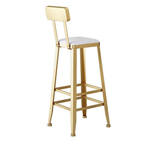 Eisen-Barhocker, mit Rückenlehne und Fußstütze, Goldschweißverfahren und Flanellkissen, mit rutschfesten Füßen (Sitzhöhe: 75 cm, Mehrfarbig optional) - Eisen Barhocker