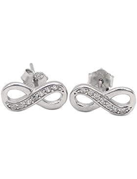 Ohrstecker Infinity 925 Sterling Silber 14 Zirkonia Ohrringe Eternity Unendlich Damen