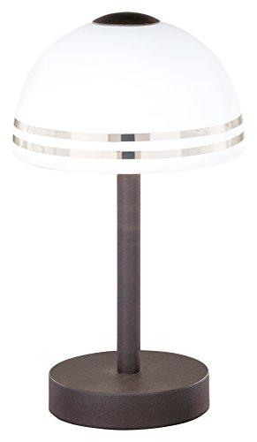 Trio Leuchten Tischleuchte rostfarbig, Glas weiß mit klaren Dekorlinien 598210124