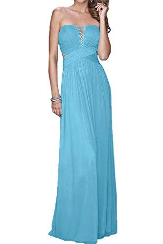 Missdressy Chiffon Lang Tuell Traegerlos Falten Neu Abendkleid Ballkleid Kleid fuer Hochzeitsgaest Partykleid Abiball Blau