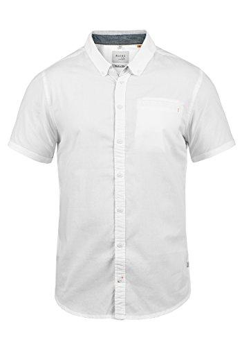 Blend Fillus Herren Kurzarmhemd Herrenhemd Hemd mit Button-Down-Kragen Aus 100% Baumwolle, Größe:S, Farbe:White (70002)