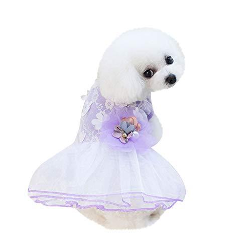 YWLINK Hunde Haustier Retro TräUmen Party Prinzessin Rock 3D Blume Drucken Kleidung Katze Spitze Mesh Patchwork Atmungsaktives Kleid(S,Lila)