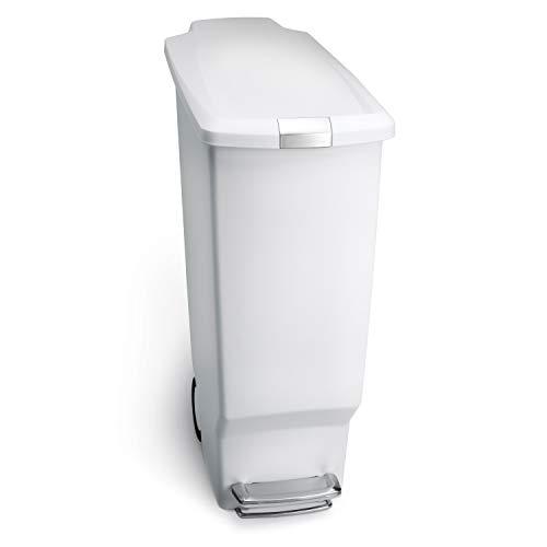 Simplehuman 40L Slim Plastic Pedal Bin, Blanco, 40 L
