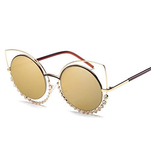 YUHANGH Cat Eye Strass Decor Sonnenbrille Luxus Nette Frauen Doppelrahmen Persönlichkeit Farbverlauf Schatten Damen
