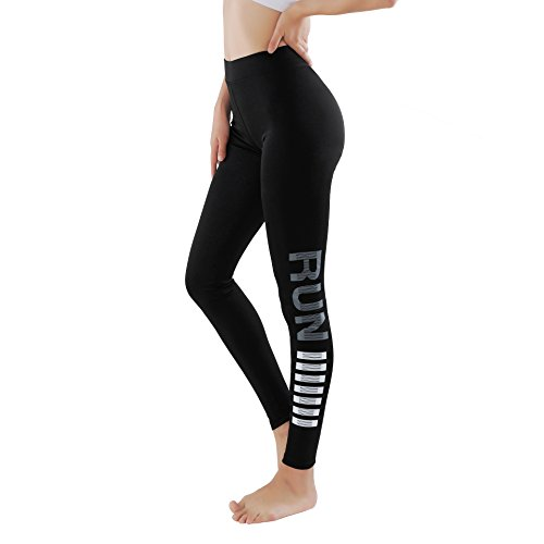 GoVia leggins para damas pantalones deportivos largos para Training Running Yoga Fitness transpirables con cintura alta 4136 Gris L/XL