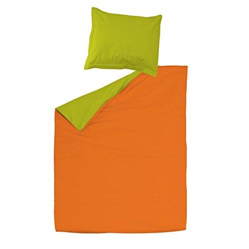 SoulBedroom Orange & Green Naranja y Verde Juego de Cama Reversible, 100% Algodón Funda para edredón...