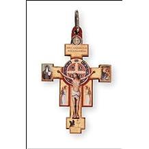 ST San Benito Crucifijo de madera Cruz y bañado en plata cadena y caja