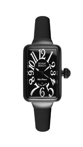 Glam Rock Art Deco Collezione Donna Orologio Quartz con Dial Analoguo E Bracciale Di Silicone Nero. 0.96.2952