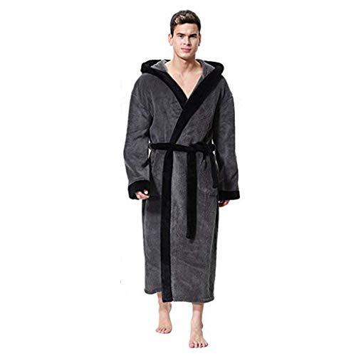 Longra Vestaglia da Uomo Accappatoio in Pile Invernale Pigiama Caldo per Casa Taglie Forti Uomo Vestaglia Lunga Pigiama Camicie da Notte Bathwear Robe Accappatoio