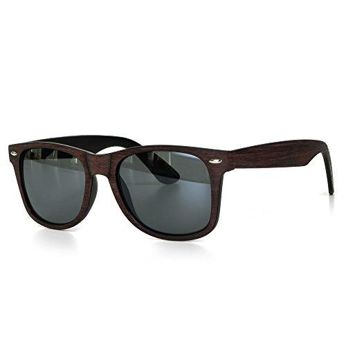 Sonnenbrille Holz Herren oder Damen Unisex Motorradbrille Retro Verspiegelt UV400 CAT 3 CE-Norm Gold Silber schwarz blau von EYES ON ME, Farbe:Dunkelbraun Schwarz Getönt
