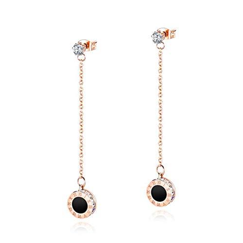 AYBB Edelstahl Lange Quaste Ohrringe römische Ziffern baumeln Ohrringe Rose Gold Diamond Jewelry für Frauen - Diamond Baumeln Ohrringe