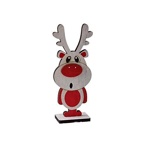 H-ONG Christmas Decoration Wooden Santa Claus Elk Ornament Christmas Tree Decorations for Xmas Decor Party Home Decoration Christmas Table Ornament Wooden Craft Kids Gift (L-elk)