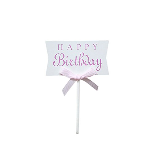 GerTong Birthday Cake Topper Schmetterling Cupcake Happy Einsatz Karte für Familie Geburtstag Party Backen Dekoration Supplies, schwarz, Papier, weiß, 10 * 6cm