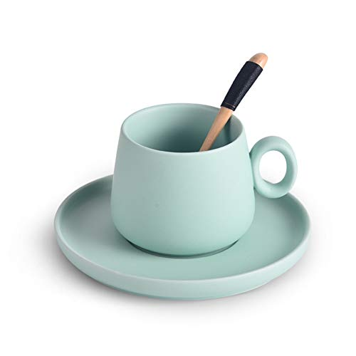 WWZL Teetassen mit Untertassen - 8 Unzen für Kaffeespezialitäten, heiße sortierte Farben (Color : Green)