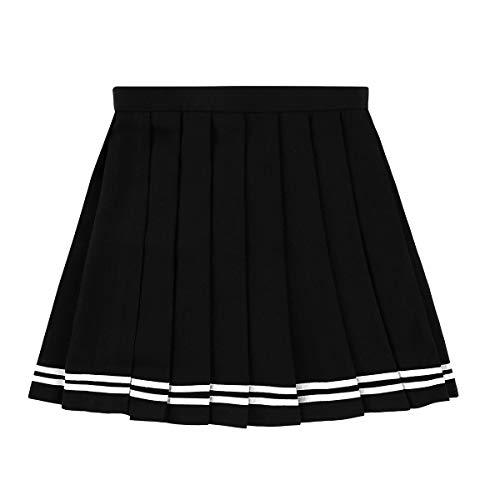 80's Tennis Kostüm - Freebily Damen Schuluniformen Japan High Waisted Plissiert Cosplay Kostüme Röcke - schwarz - M(28W)
