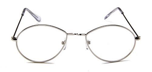 WSKPE Sonnenbrille Brillen Designer Damen Herren Sonnenbrille Brille Gelb Damen Tear Drop Runden Silbernen Rahmen Transparenter Linse