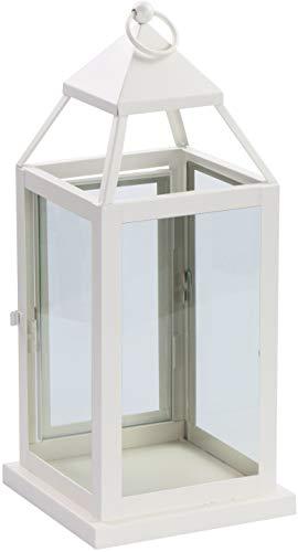 LAUBLUST Laterne aus Metall - ca. 16 x 16 x 37 cm, Weiß - Windlicht mit Glas-Fenster   Türchen   Aufhängung & Griff