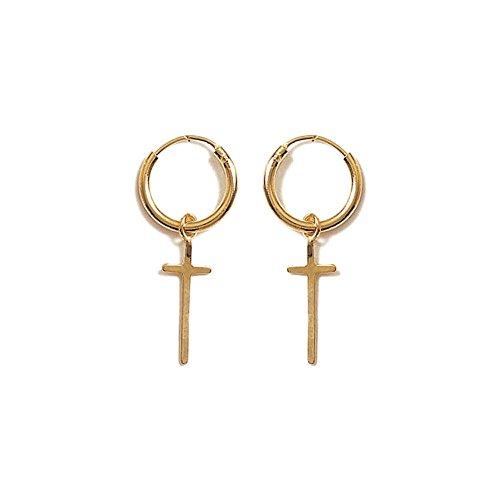 Männer Gold-ohrringe (Damen-Ohrringe Creolen vergoldet Kreuz)