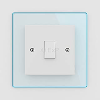 Single Light Switch or Plug Socket Back Plate Finger Surround Panel Cool Blue Tint (8 Colours Available) - Free Trolley Token Material Sample Included per Shipment