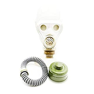OldShop Gas Mask ShMS Set - Soviet Russian Military Gasmask REPLICA Collectable Item Set W/Mask, Hose & Filter - Authentic Look Several, Color: Gray | Size: L (3Y)