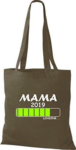 ShirtInStyle Stoffbeutel Baumwolltasche Loading MAMA 2019 Olive