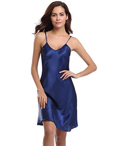 Abollria Damen Nachthemd Sexy Negligee Frau Sommer Nachtwäsche Satin Kleid Lingerie Klassische Bequem Nachtkleid V Ausschnitt Sleepwear Unterwäsche Kollektion (L, Blau) Satin Kleid-kleid