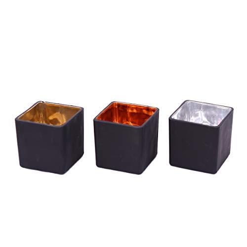 Flanacom 3er Set Windlichter Teelichthalter Weihnachtsdeko Tischdeko Moderne Deko Wohnung Industrial (Metall Windlichter Set) (Quadrate)