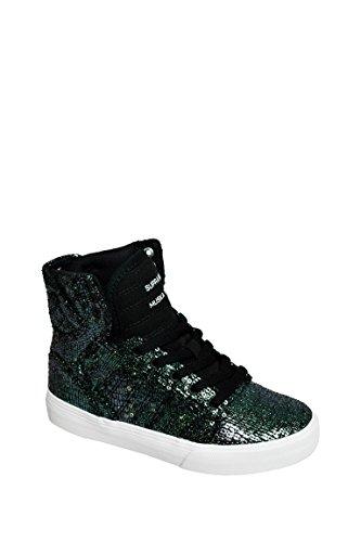 Supra Kids Girl's Skytop (Little Kid/Big Kid) Black Sequin Athletic Shoe