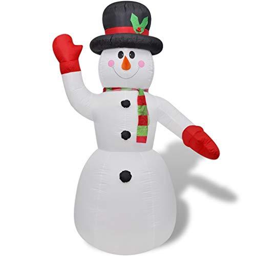 vidaXL Pupazzo di Neve Gonfiabile Interno Esterno Luci LED 240cm Decoro Natale