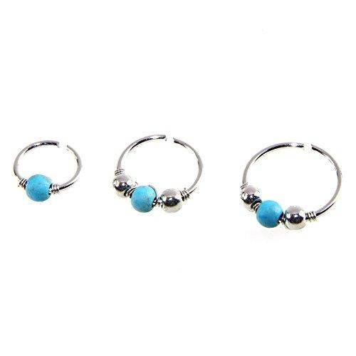 Bigboba 3 pezzi/set argento labbro anelli naso anello cerchio orecchini finti anelli con turchese perla,6-10mm titanio anello di naso