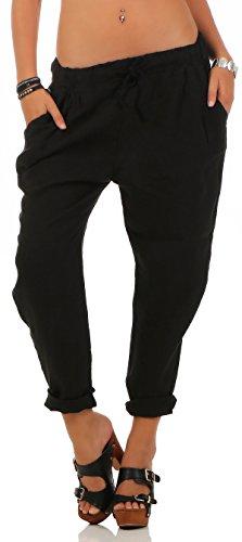 Malito Damen Hose aus Leinen | Stoffhose in Unifarben | Freizeithose für den Strand | Chino - Jogginghose 6816 (schwarz, M)