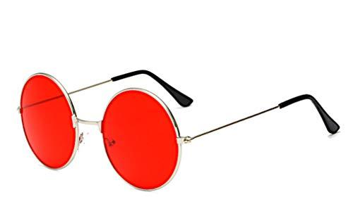 CHICNET Hochwertige Damen Herren Sonnenbrille Rundglas Hippie John-Lennon Brille 400UV rund, runde Gläser, langer Steg, aus Metall und Acryl, verspiegelt und getönt (rot silber)