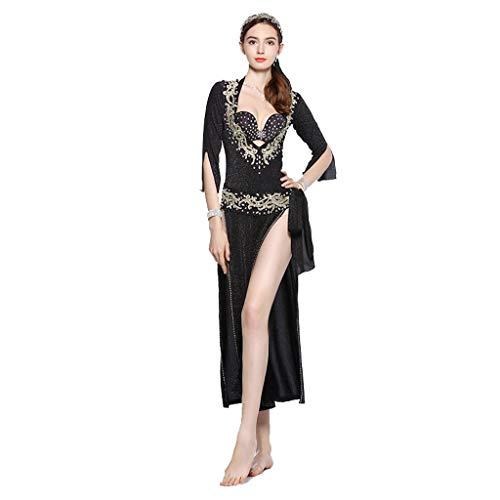 DRESSS Bauchtanz Robe Baladi Kostüme Cane Dance Orientalische Kleidung Fünfteiliger Anzug (Color : Black, Size : M)