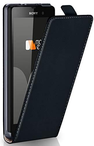 moex® Flip Case mit Magnetverschluss [Rundum-Schutz] passend für Sony Xperia Style T3 | 360° Handycover aus feinem Premium Kunst-Leder, Schwarz