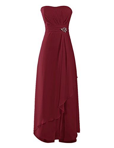 Dresstells, Robe de soirée de mariage/cérémonie/demoiselle d'honneur mousseline forme princesse sans bretelles avec emperler Bordeaux