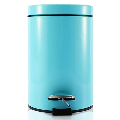 WANGYUJIE Elliptical Pedal Mülleimer Edelstahl mit Abdeckung stumm absteigend für Küche Wohnzimmer Schlafzimmer Haus,Blue,5L