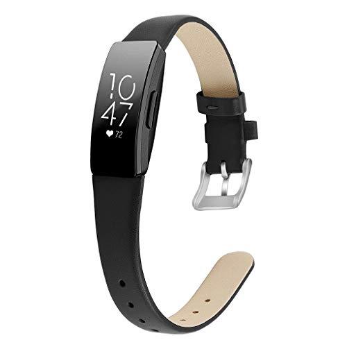 WAOTIER für Fitbit Inspire HR Armband Leder Armband Kompatibel für Fitbit Inspire Armband und für Fitbit Inspire HR mit Edelstahl Verschluss Glättender Weicher Leder Armband Retro Armband (Schwarz)