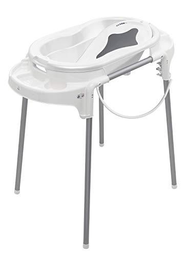 Rotho Babydesign Badestation TOP / 100 cm Breite / Babywanne weiß mit Aufbewahrungsfächer & Badewannenständer, höhenverstellbar / inkl. Wanneneinlage weiß und Ablaufschlauch