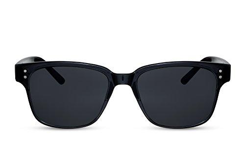 Cheapass Sonnenbrille Schwarz Recht-Eckig Grau-e Linsen UV-400 Klassisch Nerd-Brille Plastik Damen Herren
