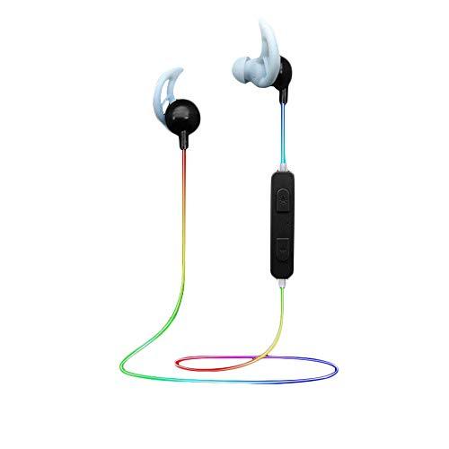 EUCoo V4.1 Auriculares Bluetooth Deportivos Color Iluminación Inteligente Auricular Bluetooth In Ear Negro Negro Talla única