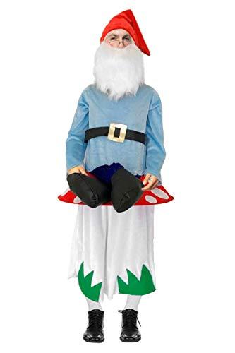 narrenkiste W99810-54 Damen Herren Zwerg-Klabauter auf Pilz Carry ME Huckepack trag Mich Kostüm ()