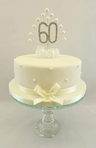 Karen's Cake Toppers Décoration perle Burst Vaporisateur Diamante 60e anniversaire perles Ivoire