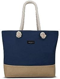 ecc86f5dfca11 LARK STREET Strandtasche Beach Bag für Damen   Herren aus robustem Baumwoll  Canvas   Jute -