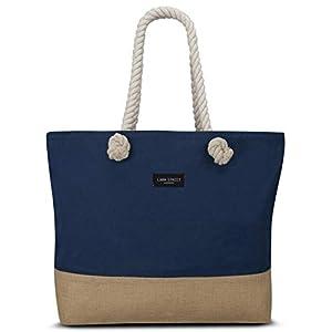 LARK STREET Strandtasche Beach Bag für Damen & Herren aus robustem Baumwoll Canvas & Jute - Badetasche mit Breiten Kordeln für angenehmen Große Tasche mit Reißverschluss